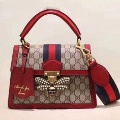 b56eaa2eb84 Gucci Queen Margaret GG Small Top Handle Bag 476541 Red 2018 Gucci Outlet  Online