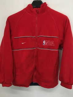 WOMENS LARGE NIKE NBA REVERSIBLE FLEECE JACKET RED BLUE VINTAGE 90'S #Nike