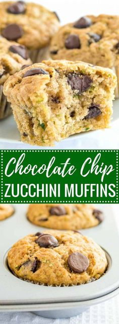 Zucchini Chocolate Chip Muffins Recipe (+ Tips to make them healthier) - Blechkuchen Einfach Schnell Delicious Desserts, Yummy Food, Tasty, Paleo Snack, Granola Barre, Chocolate Chip Zucchini Bread, Zucchini Banana, Banana Zucchini Chocolate Chip Muffins, Baking Recipes