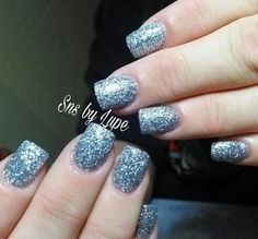 Silver glitter SNS nails by Lupe !
