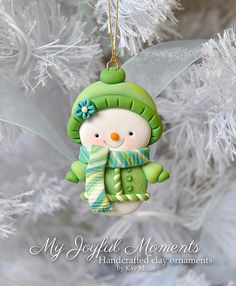 Handcrafted Polymer Clay Snowman Ornament by Kay Miller on Etsy.