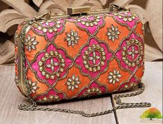Fuchsia & #Orange Honeycomb Zardozi Silk #Clutch by Karieshma Sarnaa at Indianroots.com