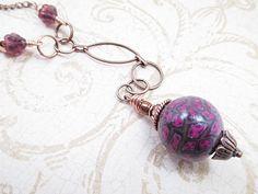 Copper Metal Lariat Necklace Purple Floral by LittleBitsOFaith, $25.00