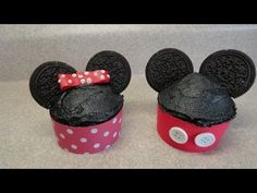 Decorating cupcakes #71:  Mickey and Minnie Mouse (two variations) - YouTube