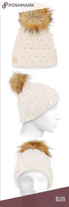 ✨NWT✨ Betsey Johnson Ivory Winter Hat Pearls Fur NWT! Betsey Johnson Ivory winter hat with faux pearls and gold beads. Faux fur top. Brand new, never worn. 100% acrylic. *** No Trades*** Betsey Johnson Accessories Hats