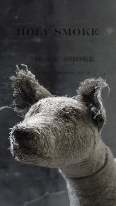Dog from wire, natural linen, and vintage textiles - by Holy Smoke