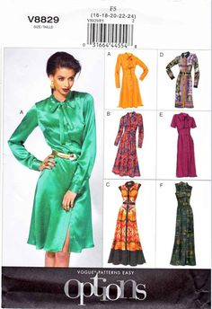 e98e97ab88d Vogue Sewing Pattern 8829 Misses Sizes 16-24 Easy Classic Shirtwaist Dress  With Options