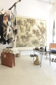 Hui-Hui scarf, Christopher Dellstrand weekend bag & textile artpiece on canvas by Philipp Rupp