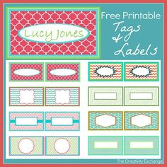 Free Printable Calling Cards,Tags and Labels. Free Printable Kid& Calling Cards for Tags and Labels- The Creativity Exchange Printable Lables, Free Printable Tags, Free Printable Calendar, Free Printables, Labels Free, Printable Designs, Card Tags, Gift Tags, Organizing Labels