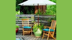 DIY Planter Patio Umbrella Stand  Maybe you already have a nice patio table and need additional seating or perhaps you have a balcony too small for a table. If either of these are the case, consider turning a planter into an umbrella stand; you'll have a handy base for your patio umbrella and grow decorative plants or perhaps a mini-herb garden.