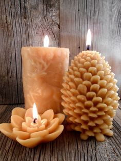Beeswax Candle Nature Set by on Etsy Cute Candles, Unique Candles, Beautiful Candles, Best Candles, Diy Candles, Candle In The Wind, Candle Set, Natural Candles, Homemade Candles