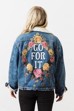 Denim and Bone 'Go For It' embroidered vintage denim jacket