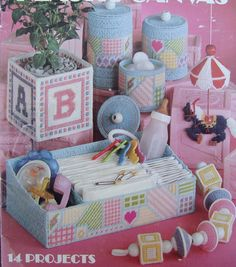 Plastic Canvas Patterns for Baby/ Leisure Arts Projects for Baby in Plastic Canvas/ spinning top,door sign,canister set, bath tray, newborn