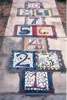 kids hopscotch tile sidewalk