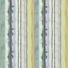Roman Blinds in Demeter Stripe Fabric - Indigo/Ocean/Soft Lime - Harlequin Kallianthi Fabrics Collection Pattern Design Drawing, Pattern Art, Wallpaper Samples, Fabric Wallpaper, Harlequin Fabrics, Sanderson Fabric, Paint Stripes, Made To Measure Curtains, Sunset Colors