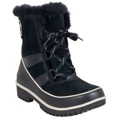 Sorel Women's Tivoli II Boot ($130) ❤ liked on Polyvore featuring shoes, boots, black, rubber sole shoes, black winter boots, kohl shoes, fleece lined winter boots and black boots