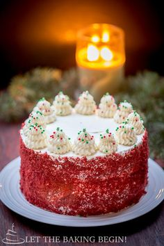 Red Velvet Cheesecake Cake - Thick layer of cheesecake, sandwiched between two moist layers of chocolate cake, then the whole cake is frosted with rich vanilla cream cheese frosting. By Let the Baking Begin! @Letthebakingbg