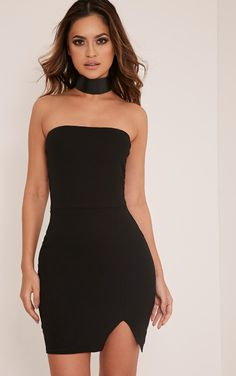 Layala Black Split Detail Bandeau Bodycon Dress ea239c79eb6