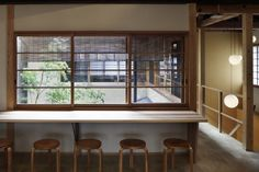 Wooden Cafe, Wooden Posts, Post And Beam, Japanese Architecture, Exposed Beams, Frame Display, Cafe Interior, Second Floor, Kyoto