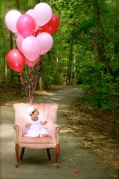 Baby's 1st birthday photo shoot!  How cute is Layla in Abilene (our pink upholstered chair) decked out with balloons? What an adorable birthday girl!