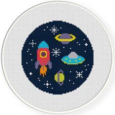Space Adventure Cross Stitch Illustration
