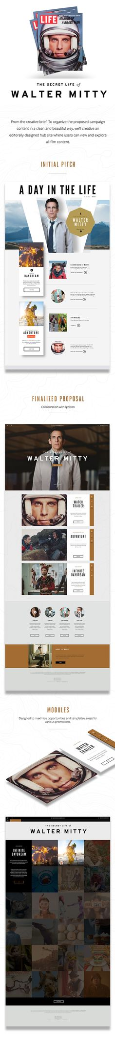 The Secret Life of Walter Mitty - Website Design Proposal. Website Design Inspiration, Graphic Design Inspiration, Web Layout, Layout Design, Design Web, Digital Communication, Life Of Walter Mitty, Ui Web, Email Design