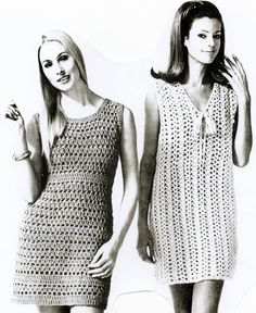 1960 aw sugar sugar...you are my candy girl...crochet dress patterns..you get both instructions to make both the dresses so you can keep on dancing to the Archies! Happy Crocheting! Peace