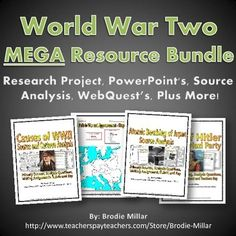 World War Two (WWII) Resource Bundle - This is a comprehensive and detailed World War Two (WWII) Resource Bundle that contains 38 unique documents totaling 390 pages/slides of content! You save by buying this bundle, instead of buying all of the products individually in my store, which would cost over $50! It contains 25 individual World War Two resources.