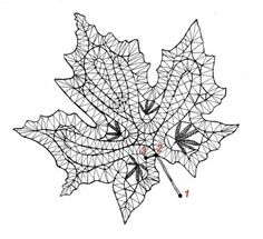 Bobbin lace pattern maple leaf