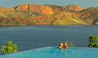 Located near the East Kimberley town of Kununurra is the enormous Lake Argyle. It's Australia's second largest freshwater man-made reservoir and a pretty great place to visit, made better by this totally killer viewing spot – a sky-high infinity pool.
