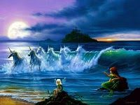 They Only Come Out At Night, © Jim Warren #painting #art #jim_warren #fantasy #sea #ocean #water #fae #fairy #faerie #wing #child #girl #horse #equine #unicorn #wave