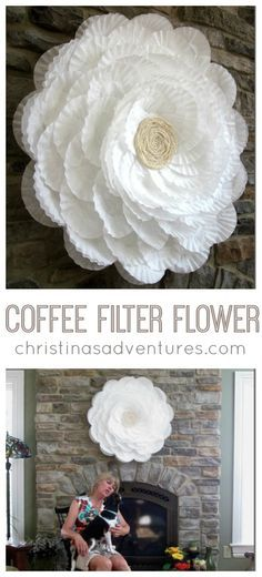 Filter Flower {bridal shower decor} GIANT coffee filter flower - the base is a hula hoop! Perfect for showers & party decorGIANT coffee filter flower - the base is a hula hoop! Perfect for showers & party decor Coffee Filter Wreath, Coffee Filter Crafts, Coffee Filter Flowers, Coffee Filter Art, Coffee Flower, Coffee Filter Projects, Handmade Flowers, Diy Flowers, Fabric Flowers