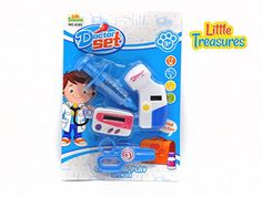 Little Treasures 4 piece Dr pretend and play cute Doctor Play Set toy with lights *** Continue to the product at the image link.