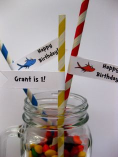 30 Custom Dr Seuss Inspired One Fish Two Fish Party Straws Striped