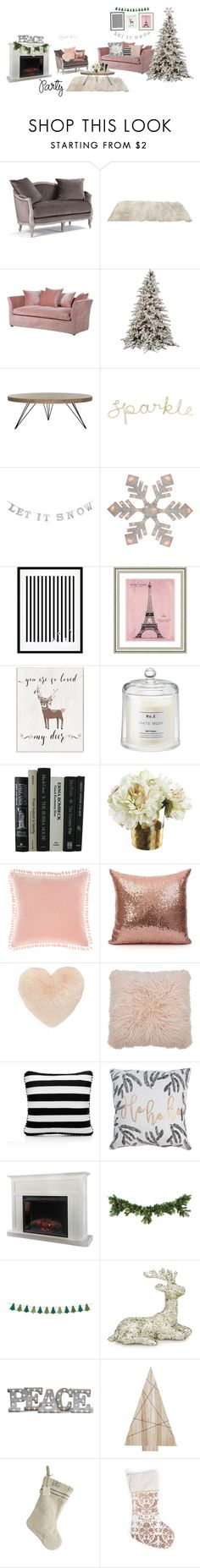 """""""holiday party"""" by gracestyles ❤ liked on Polyvore featuring interior, interiors, interior design, home, home decor, interior decorating, Safavieh, Eleanor Stuart, Vintage Print Gallery and Stupell"""