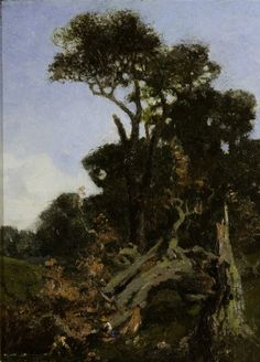 """Broken Tree,"" Dwight Tryon, oil on canvas, 12 × 9"", Montclair Art Museum."