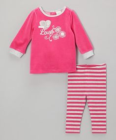 Take a look at this Dark Pink 'Love' Velour Tunic & Stripe Leggings - Infant by Absorba on #zulily today!