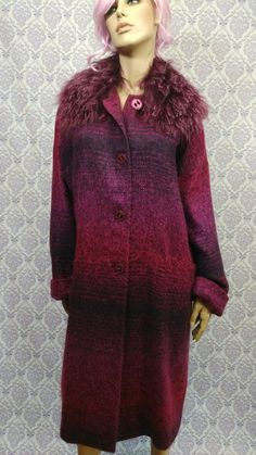 VTG Avoca Long Coat Ireland Womens 12 EUR 42 Purple Poly Mohair Lightweight #Avoca #Outdoor #Coat   #Purple