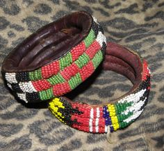 pAIR oF AFRICAN bEADED lEATHER bANGLE uNISEX bRACELET oLD aND aUTHENTIC VALENTINE by PetiesPorch on Etsy