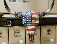 """Western resin cow skull with American Flag design  20"""" × 12"""" home decor"""