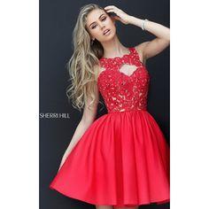 Red Sherri Hill 50581 Taffeta Lace Short Homecoming Dress