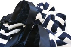 "Navy and Cream Minky Chevron Baby Blanket with Flat Satin Ruffle Trim stroller size 28"" x 30"" on Etsy, $40.00"