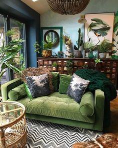 Deco Studio, Bohemian Interior Design, Bohemian Decorating, Green Interior Design, Interior Office, Interior Colors, Interior Plants, Room Interior, Boho Decor