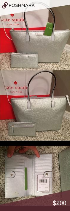 """♠️️Kate Spade Hani Tote & Stacy Wallet♠️️ ⭐️NWT Kate Spade Silver Glitter Hani Glitter Tote.. 🔹Measures: 14"""" L x 8.75"""" H x 5"""" D🔹Double handle drop: 6.5""""🔹Black glitter tote w top zip closure.. Really beautiful!! 🔹Wallet is Stacy style with same black glitter color.. Has lots of pockets, snap close and I'd Window for license.🚫NO TRADES🚫💥Less on Ⓜ️💥 kate spade Bags Totes"""