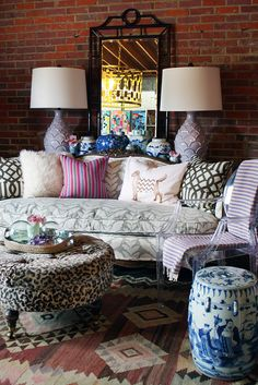 furbish fall, leopard ottoman, patterned french sofa, garden stool, kilim rug, mixed pillows, imperial trellis, dog pillow, fall styling, chinoiserie mirror