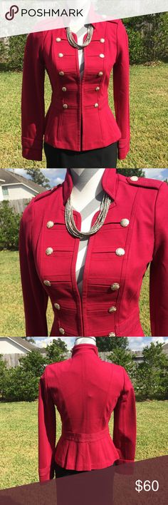 NewWHBM Red Military Blazer Beautiful sold out WHBM military blazer. Banded waist and cuffs of sleeves. Silver buttons & hook & eye closure. 70% Viscose 25% nylon 5% spandex. Dry clean. NWT & extra button. White House Black Market Jackets & Coats Blazers