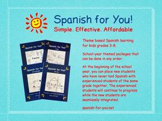 An innovative way for kids to learn Spanish. Fun lessons that are engaging and effective and teach kids how the language works! Use for classes or at home. Come visit and learn more!