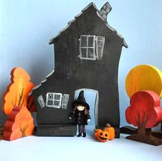 Cute Halloween Waldorf  Haunted Dollhouse door TheEnchantedCupboard