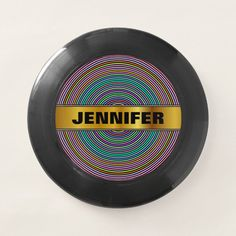 Custom Name + Multicolored Circles/Rings Pattern Wham-O Frisbee - tap/click to personalize and buy #WhamOFrisbee  #faux #gold #color #custom #name