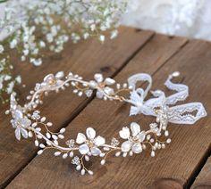 Floral Vine, Bridal Wedding Headpiece, Forehead Crown, Gold, Pearl, Swarovski Crystal, Boho, Country, Spring, Summer, Beach